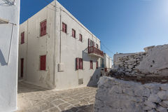 Typical street and white houses in Mykonos, Cyclades, Greece Stock Images