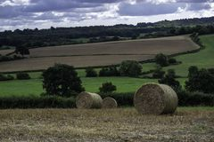 Straw bales in fields on a summer day stock photos
