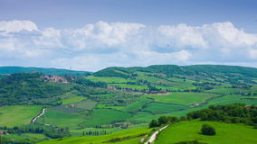 Typical summer landscape in Tuscany. The top view, timelapse stock video footage