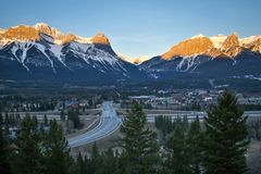 Typical sunrise scenery frrom Benchalnds terrace viewpoint in Canmore, Alberta, Canada. Springtime view of Canmore time in Canadanian Rockies, beaty of Canada royalty free stock photography