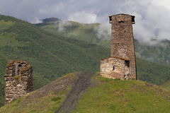 A typical Svanetian tower, Upper Svaneti, Georgia. Svaneti (Suania in ancient sources) is a historic province in Georgia, in the northwestern part of the country Royalty Free Stock Photo