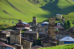 A typical Svanetian tower in Ushguli,  Georgia. Architectural monuments of Upper Svanetia are included in a list of UNESCO World Heritage Sites Royalty Free Stock Photography