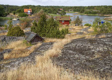 Typical Swedish archipelago village. Stock Photos