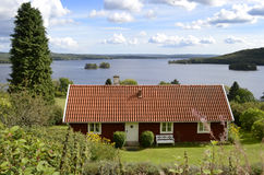 Typical Swedish house near the lake Stock Photo