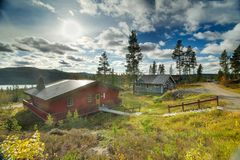 Typical Swedish house in a ski region Royalty Free Stock Image