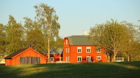 Typical Swedish houses in Lungre, listed as monuments Stock Images