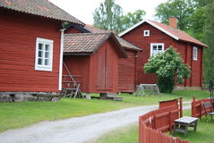 Typical Swedish houses in red Royalty Free Stock Photography