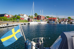 Typical Swedish seaport in summer season Stock Images