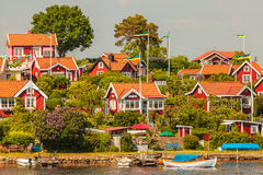 Typical swedish wooden houses in Karlskrona Stock Images