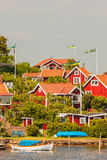 Typical swedish wooden houses in Karlskrona Royalty Free Stock Image
