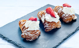 Typical sweet Italian consist cannoli , baba Royalty Free Stock Image
