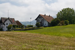 Typical swiss village. Typical swiss rural view. Field, houses and a forest. Switzerland Royalty Free Stock Photos