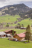 Typical Swiss village on valley. Stock Photos