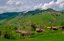 Typical Switzerland countryside landscape Royalty Free Stock Photos