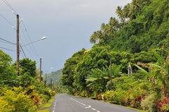 Typical Tahitian road Royalty Free Stock Photo