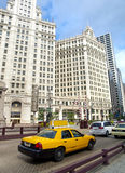 Typical Taxi in Chicago Streets. Typical Yellow Taxi in Chicago Streets. USA Stock Photography