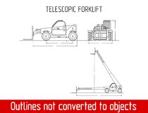 Typical Telescopic handler with fork industrial crane overall dimensions outline blueprint template. Telescopic handler with fork overall dimensions blueprint Royalty Free Stock Image