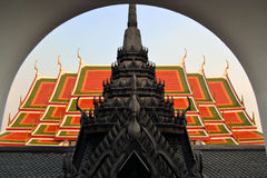 Typical Thai Buddhist temple. A Buddhist temple built in typical traditional Thai style Stock Photos