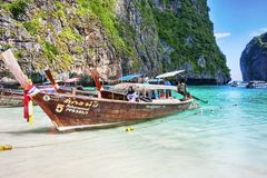 Typical Thai vessel used for tourists transport, moored on Ko Phi Phi Lee - Thailand. Ko Phi Phi Lee, Thailand July 06,2017 :Typical Thai vessel used for Stock Images