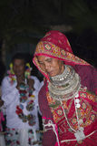 Typical Tharu dancer, wearing traditional jewelry and clothes, Nepal Royalty Free Stock Image