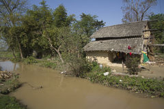 Typical tharu house, Bardia, Nepal Royalty Free Stock Images