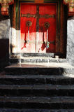 A typical tibetan door Stock Images