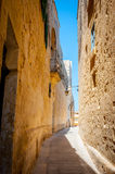 Typical tight street in Mdina, Malta, with high stone walls of h Royalty Free Stock Photos