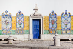 Typical tiles at a wall in Lisbon Royalty Free Stock Images