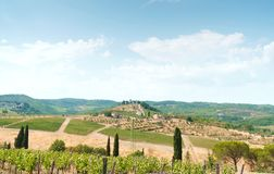 Typical Toskana landscape: vineyards, olive trees and small village with old castle on horizon. Stock Image