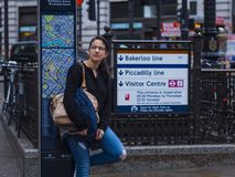 Typical tourist photo in London at Piccadilly Circus Stock Image