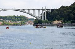 Typical touristic boats on Douro river Royalty Free Stock Photo