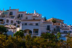 Typical town architecture in Andalusia, characteristic building. Facades, tourist place, sunny day Stock Images