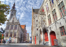 Typical town houses of bruges Stock Photo