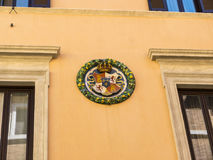 Typical Town Houses with Heraldic Roundles attached in Rome Italy. Rome , the Eternal city, which has been a destination for tourists since the times of the Stock Images