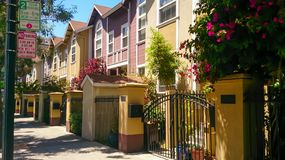 Typical townhouses neighborhood one can find anywhere royalty free stock photos