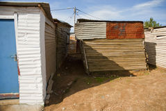 Typical township shack. A typical shack, almost falling over in a township in South Africa stock image