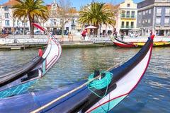Typical Traditional boats Moliceiro in Vouga river. Aveiro Stock Photo