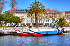 Typical Traditional boats in Vouga river. Aveiro Stock Photo