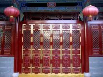 Chinese Red Gate and Lanterns Royalty Free Stock Images