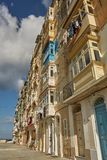 Typical and traditional colorful architecture and houses in Vall. VALLETTA, MALTA - OCTOBER 30, 2017: Traditional colorful architecture and houses with balconies Royalty Free Stock Photos