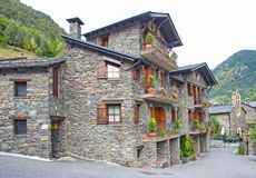 Typical traditional dark brick Andorra rural houses Stock Image