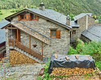 Typical traditional dark brick Andorra rural houses Stock Photo
