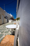 Typical traditional greek white and blue houses. In the island of Folegandros. In most of the Cycladic islands, houses were painted white to reflect the harsh Royalty Free Stock Images