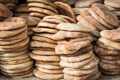 Typical traditional Moroccan bread on street food stall, Marrakesh, Morocco stock images