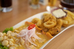 Typical and Traditional Peruvian Dish Seafood Ceviche Stock Image