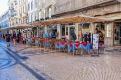 Typical traditional portuguese street in Lisbon, Portugal Stock Image