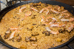 Typical and traditional spanish paella Stock Photos