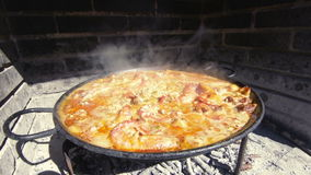 Typical and traditional spanish paella stock video