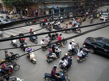 Typical traffic jam on crossroad in the Hanoi Stock Photos