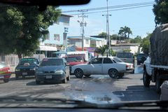 Typical traffic jam in the Cumana city stock image